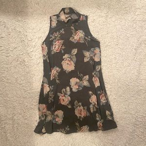 Ginger G Swing Mini Gray & Floral Dress Size Small